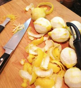 Peeled lemons. Sometime the citrus will have thick pith between the zest and the fruit. Remove the peel, cut the pith away just as you would to remove the peeling for sectioning citrus.