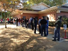 A part of the line of waiting voters Saturday at Charlotte's Veterans Park.