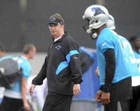 Panthers offensive coordinator Rob Chudzinski observes players on the practice fieled during the first day of Panthers minicamp on June 12, 2012.