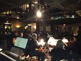 Local jazz group, A Sign of the Times plays alongside members of the Charlotte Symphony at the historic Excelsior Club.