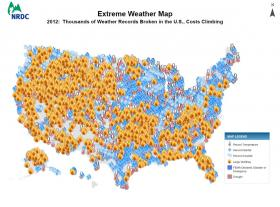 The National Resources Defense Council's extreme weather map for 2012