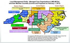 The map of the state's 11 managed care organizations, as planned in October 2012, during a statewide reorganization. Mecklenburg County is the only county to run its own organization.