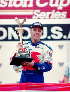 Jeremy Mayfield's first win was the NASCAR Sprint Cup Series Pocono Race in 1998.