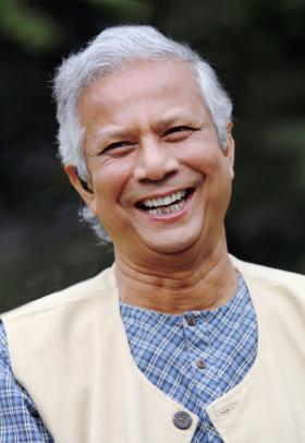 "Grameen Bank founder Muhammad Yunus won the Nobel Peace prize in 2006 for his ""efforts to create economic and social development from below."""
