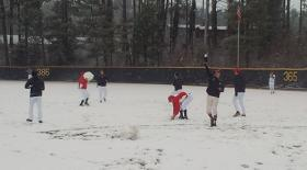 Davidson baseball snowball fight
