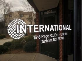 International Pharmaceuticals' sticker is still on the front door of its old office building.