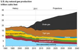 Hardly a factor a decade ago, shale gas is projected to account for half of total natural gas production in the U.S. by 2040.