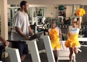 Annoying or effective? This North Carolina Education Lottery ad features cheerleaders and a guy on a treadmill.