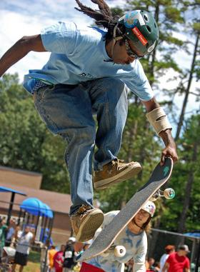 One of several hundred skateboarders at the Battle Slam Jam at Grayson Skatepark in August 2009. If Charlotte is chosen to host the summer X-Games in 2014, it would be one of the biggest extreme sports events on the East Coast.