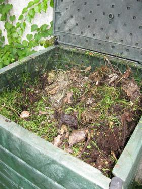 A residential compost bin after about 10 months of use.