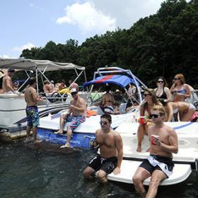 5/28/12 - Boaters enjoy the weather while gathered at the sandbar area of Lake Norman during Memorial Day.