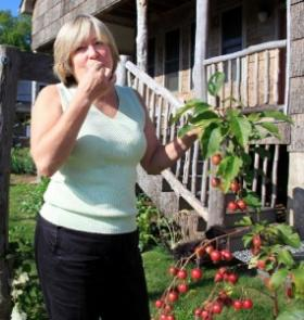 Nan Chase eats crabapples from her yard.