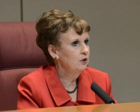 Former Mecklenburg County Commission chair Pat Cotham (D-At Large) presides over the May 7, 2013 meeting, where the Commission voted to fire then-County Manager Harry Jones.
