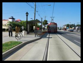 A rendering of a proposed streetcar stop on Beatties Ford Road.