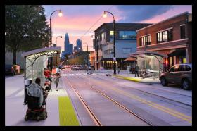 A rendering of proposed streetcar stops on Elizabeth Avenue.