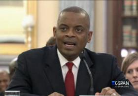 Charlotte Mayor Anthony Foxx answers questions during his senate confirmation hearing on Wednesday to become U.S. Secretary of Transportation.