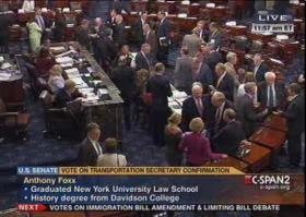The Senate voted 100-0 to confirm Charlotte Mayor Anthony Foxx as the next U.S. transportation secretary.