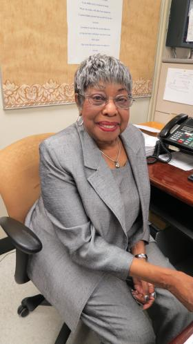 Mable Latimer {'52) volunteers at West Charlotte most days.