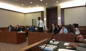 Fourteen-year-old Oree Hayes-Brown played the part of public defender in a mock trial murder case on the last day of Court Camp.