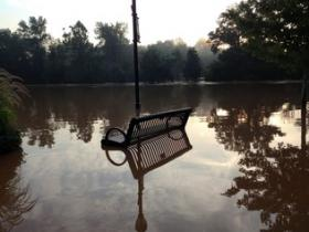Flooding in downtown Cramerton on Monday. The Catawba river crested seven feet above flood stage early Monday.