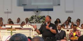 Senior pastor Leonzo Lynch at Ebenezer Baptist Church in North Charlotte.