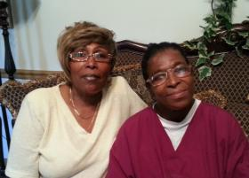 Janice Black (right) with her friend and caretaker Sadie Long at their home in Charlotte.