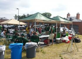 The Starnes family set up an elaborate tail-gate in a campus parking lot near the stadium.