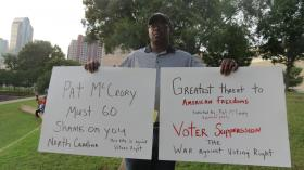 Grady Lockhart was at Charlotte's Moral Monday to protest the new voting law signed by Governor Pat McCrory.
