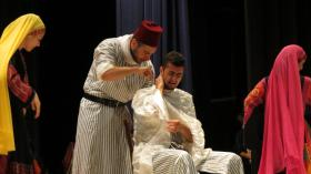As part of the wedding scene, the groom-to-be gets a shave.