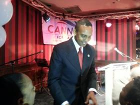 Patrick Cannon shook hands with supporters after winning the mayoral primary.