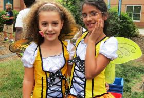 Classmates Ester Mota and Hari Potharaju, both 9, dressed up as butterflies for their dance called The Flight of The Butterflies.