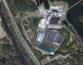 Satellite view of the Asheville Plant and the French Broad River (left).