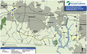 The proposed Garden Parkway would connect southern Gaston County to I-485 to the east and I-85 and US 74 to the west.