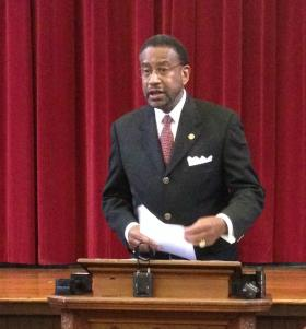 Johnson C. Smith University president Ron Carter announces the layoffs Thursday afternoon.
