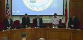 The Rowan County Commission praying at the beginning of its October 21, 2013 meeting