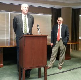 Former aviation director Jerry Orr (r) and his attorney Richard Vinroot respond to a city audit that alleges 'inaccuracies' in airport documents.