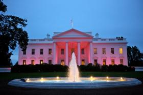 The White House lit up pink for Breast Cancer Awareness Month in 2012.