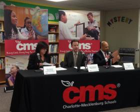 CMS Superintendent Heath Morrison discusses the lower test scores for the 2012-2013 school year at a press conference Thursday.