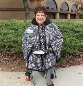 Claire Fallon won an at-large City Council seat on Tuesday. She was soliciting votes outside the Oasis Shrine Temple polling site in University City in Charlotte on Election Day.