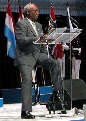 James McEachin reads a narrative on the conflict at a Department of Defense salute to the Korean War.