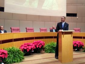 Mayor Patrick Cannon speaks after being sworn in to the job.