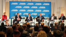Susan DeVore, Brian Moynihan, Tim Belk, David Carroll, LLoyd Yates and Chris Kearney take part in the Charlotte Chamber's economic outlook conference.
