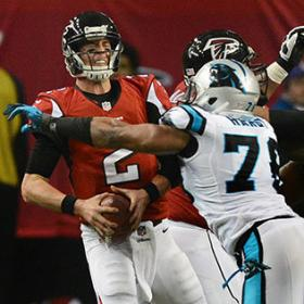 Carolina Panthers defensive end Greg Hardy (76) sacks Atlanta Falcons quarterback Matt Ryan during the 4th quarter Sunday.