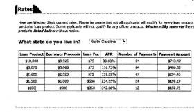 An exhibit from North Carolina's lawsuit, showing Western Sky's loans and rates.