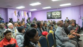 More than 150 people attended the rally for Jonathan Ferrell at the Next Level Ministries church in Northeast Charlotte.