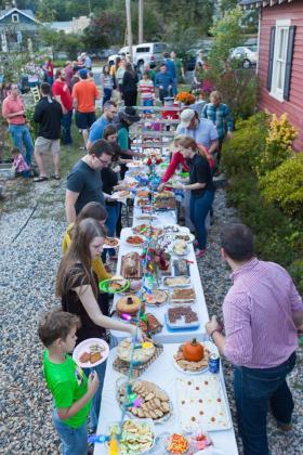 A potluck gathering