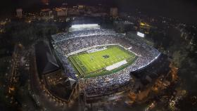 A University of North Carolina-Chapel Hill drone circled Kenan Stadium, taking pictures, during this year's UNC-Miami game.