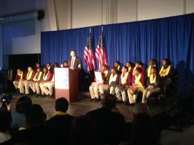 N.C. Governor Pat McCrory (R) speaking at a school choice rally Thursday at the Carolinas Aviation Museum in Charlotte