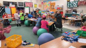 "Students bounce on stability balls while they work to ""get the wiggles out."""
