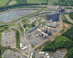 An aerial view of the Dan River power plant, including an ash pond that spilled at least 30,000 tons of coal ash into the river.